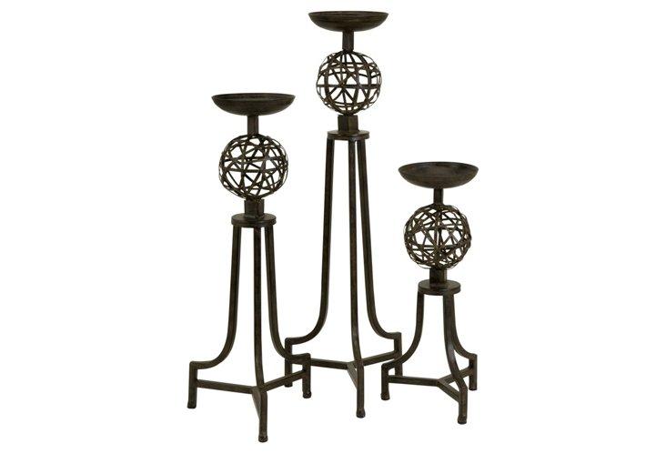 S/3 Mesh Sphere Candlesticks