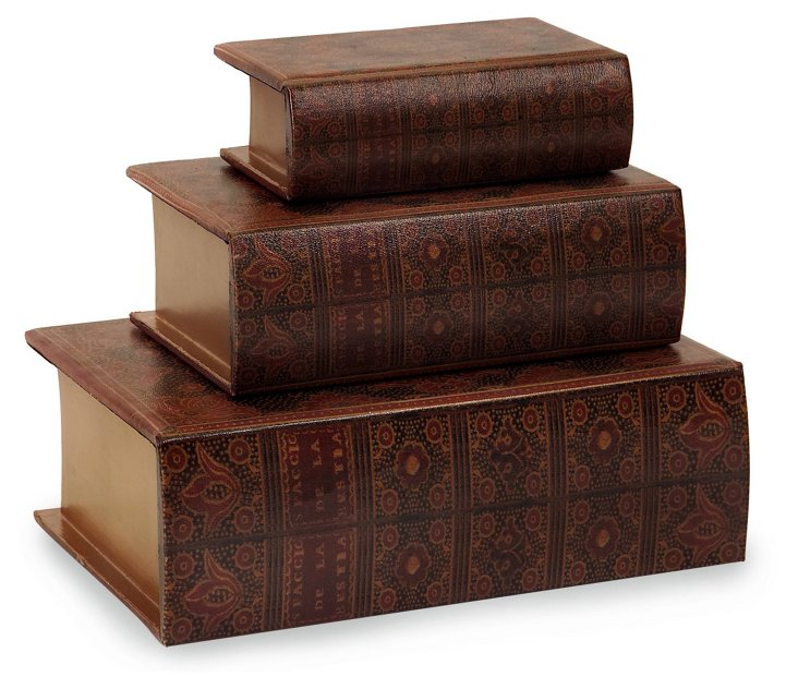 Asst. of 3 Wooden Book Boxes, Red