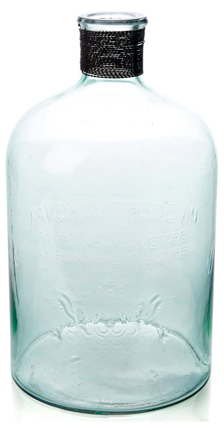 "13"" Stokes Embossed Glass Jug"