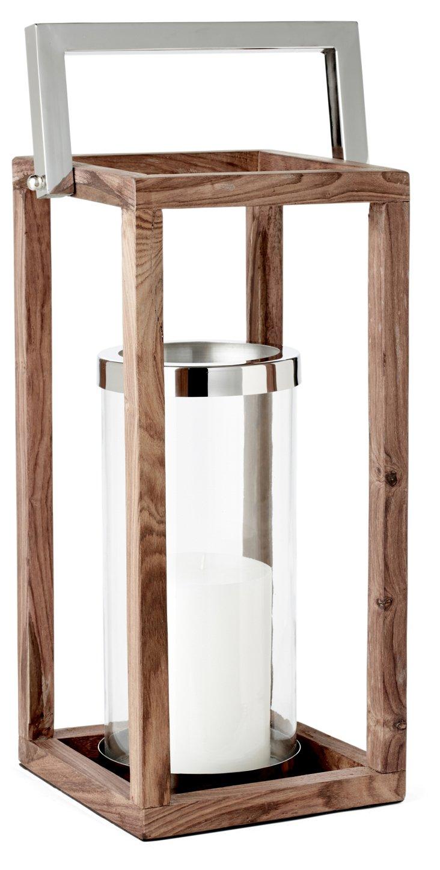 "17""  Wooden Frame Lantern"