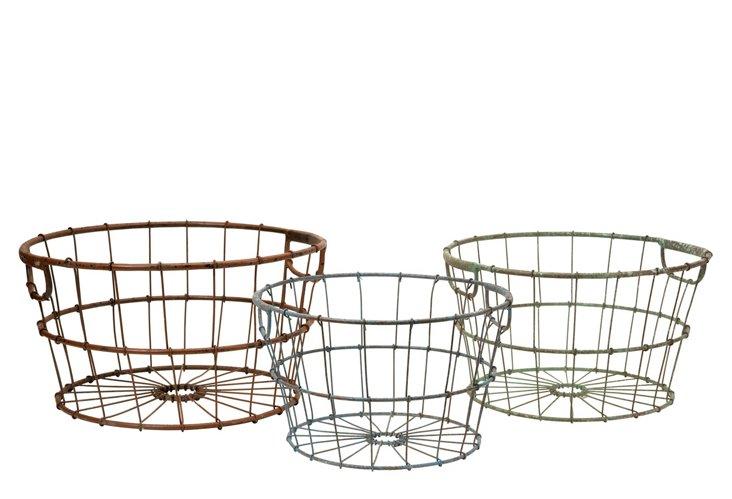 Asst. of 3 Kristley Metal Baskets, Multi