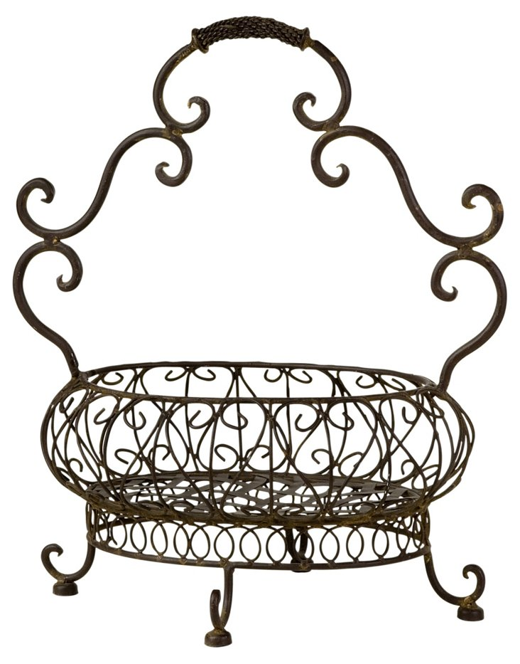 Iron Basket w/ Curved Handle