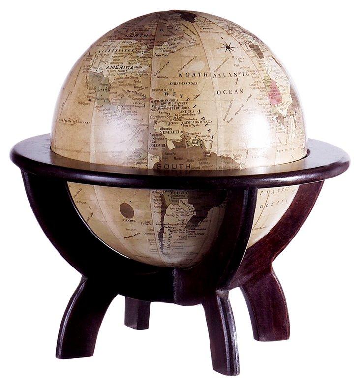 """11"""" Globe with Base, Tan/Brown"""