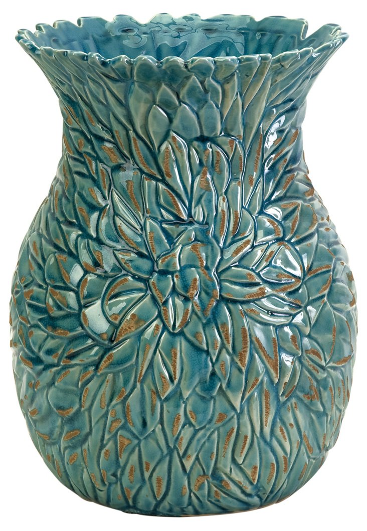 "12"" Blue Petal Vase"