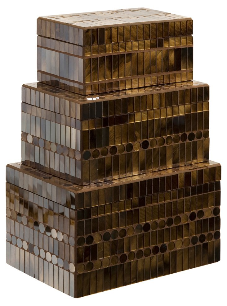 S/3 Asst. Chai Mosaic Boxes