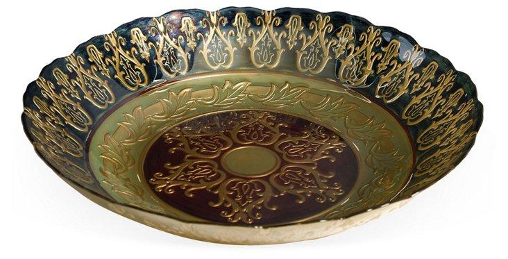 "16"" Bursa Glass Bowl, Gold/Green"