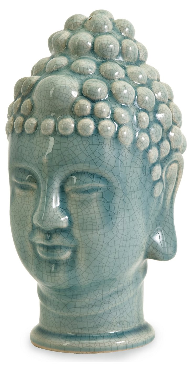 """12"""" Taibei Buddha Head, Blue"""