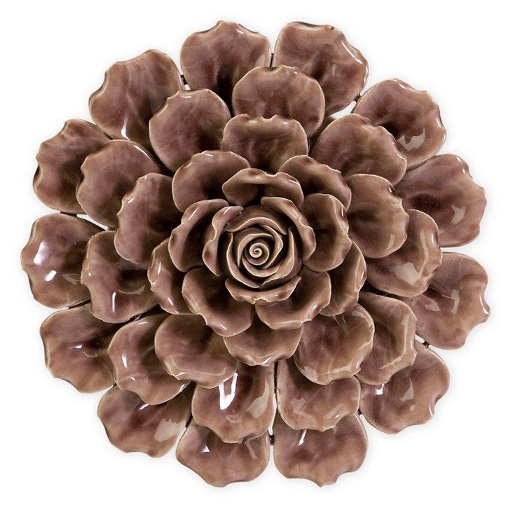 Ceramic Wall Flower, Mauve