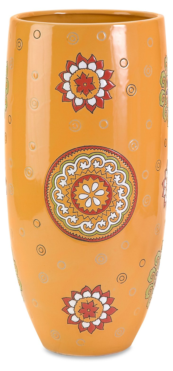 "19"" Bindea Hand-Painted Vase, Orange"