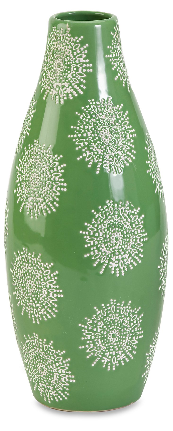 """14"""" Floral-Print Vase, Green"""
