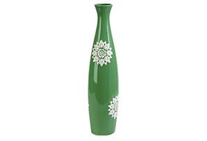 """20"""" Floral Print Vase, Green"""
