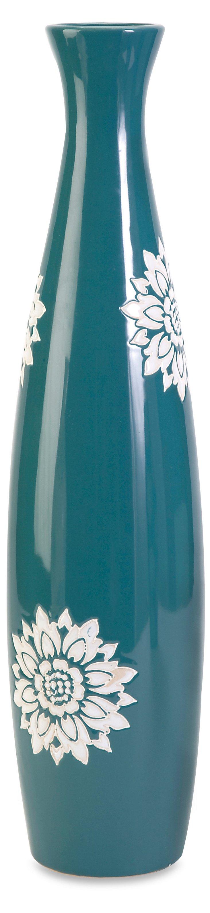 """20"""" Floral Print Vase, Blue"""