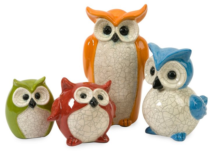 Asst. of 4 Enchanted Owls