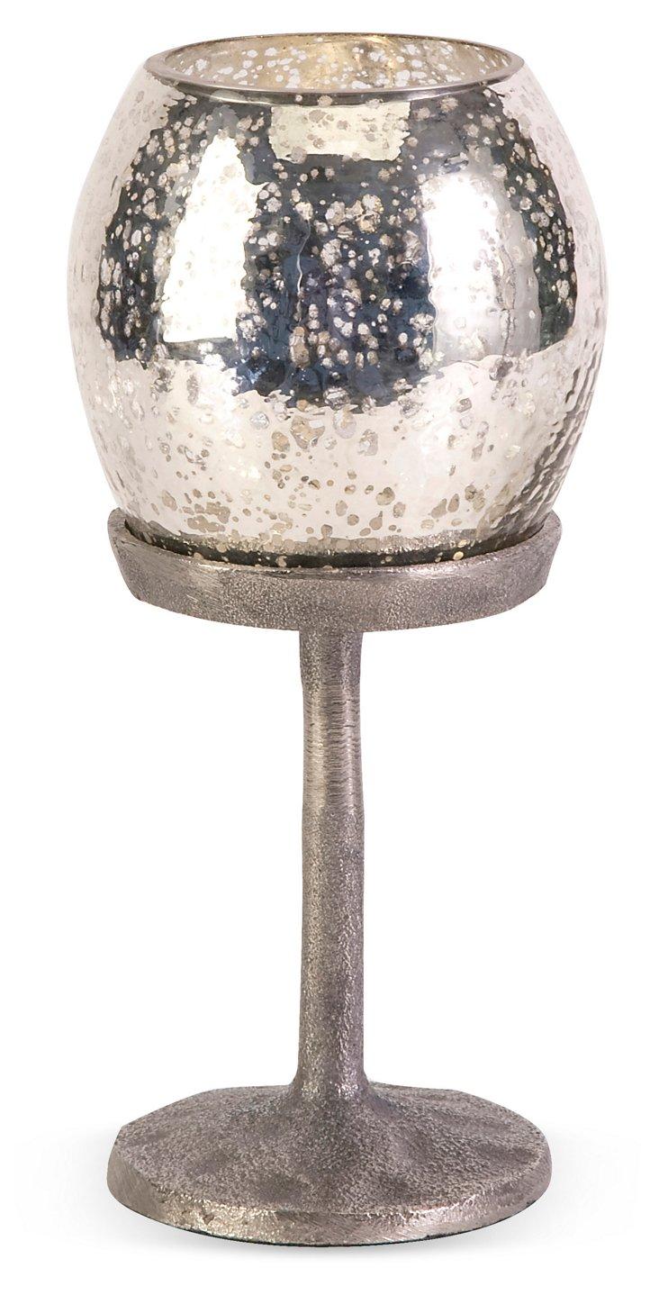 "10"" Silvered-Glass Candlestick Votive"