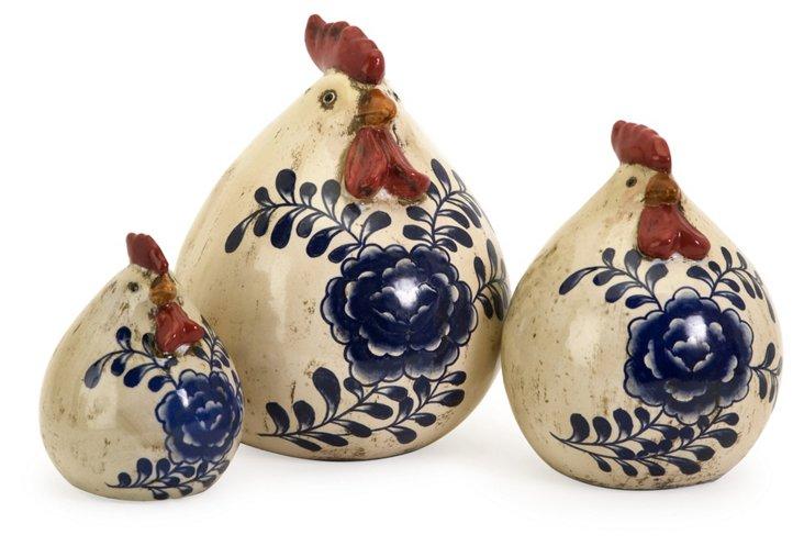 Set of 3 Scandinavian Chickens