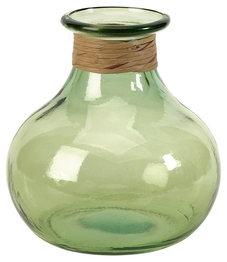 "9"" Angelico Recycled Glass Vase, Green"