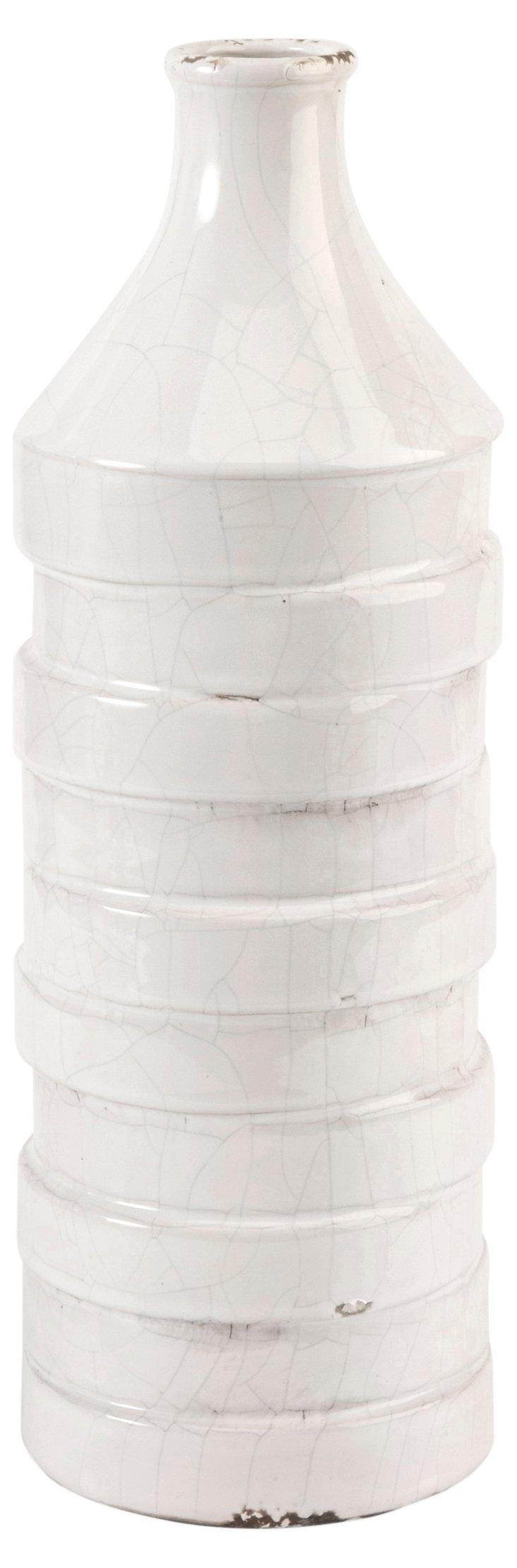 """15"""" Gaylyn Ribbon Vase, White"""