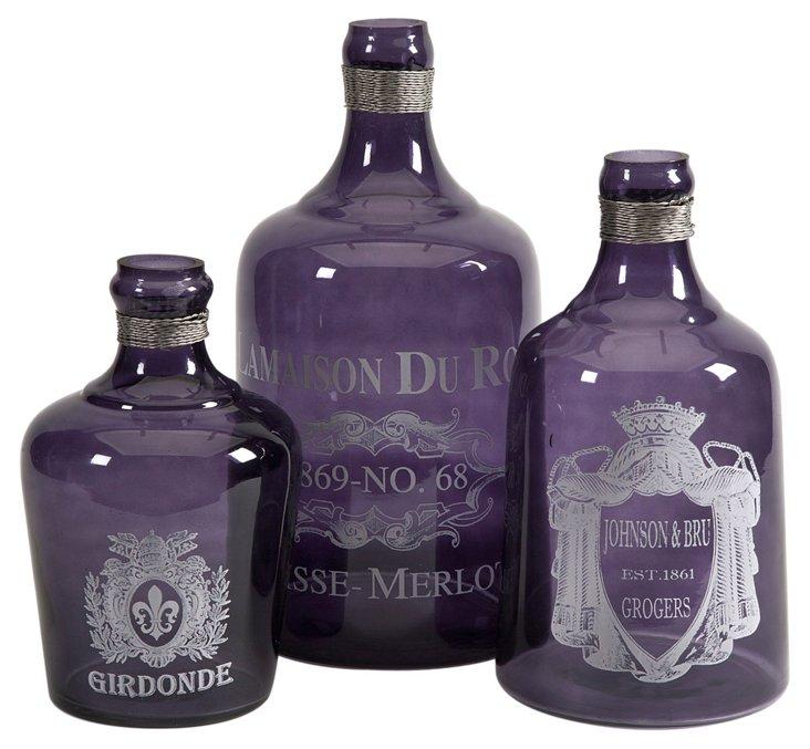Asst. of 3 Karlin Glass Bottles, Purple