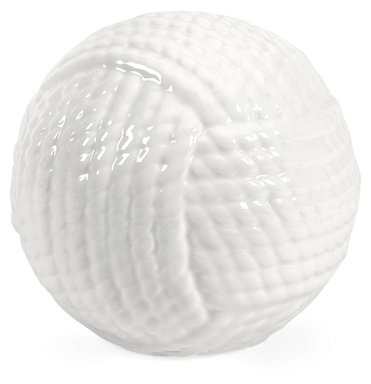 """5"""" Ceramic Yarn Ball, White"""