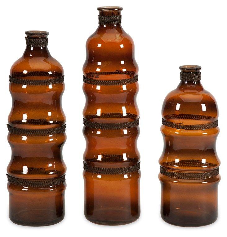 Asst. of 3 Cumulas Glass Bottles, Brown