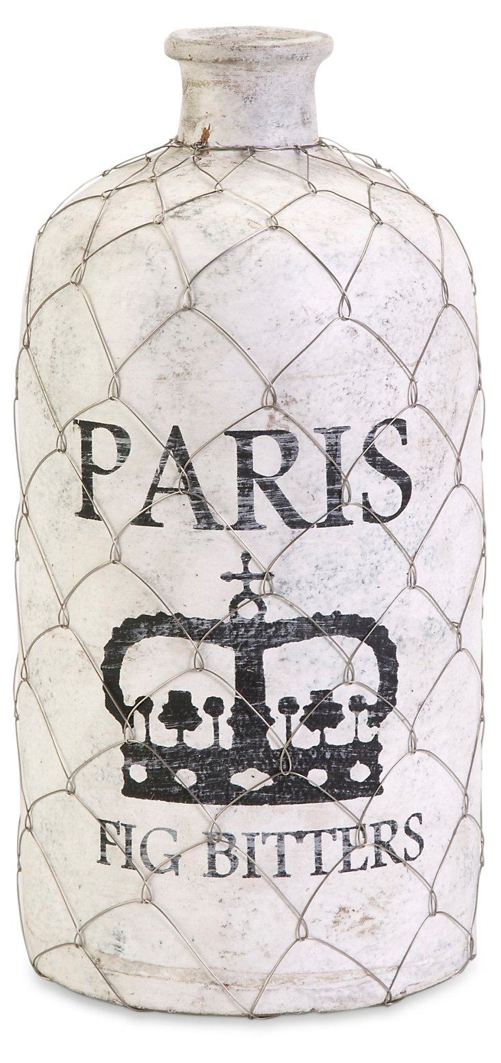 """15"""" French Wire Cage Bottle, White"""