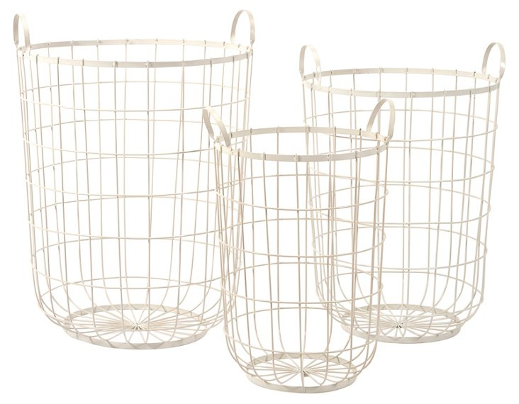 Asst of 3 Dylan Wire Storage Baskets