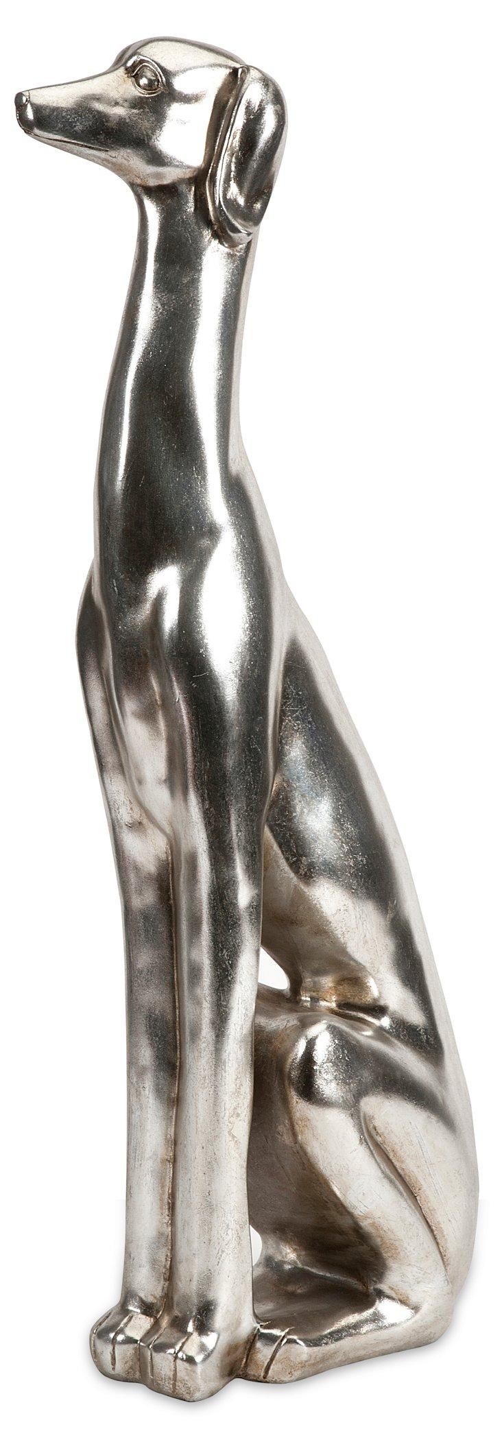 """31"""" Sitting Dog Figurine, Silver"""