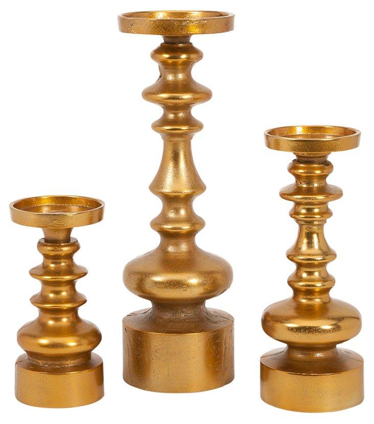Asst. of 3 Karenza Candleholders, Gold