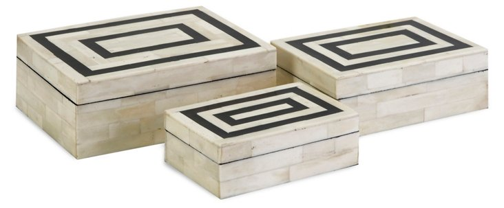 Asst. of 3 Bella Bone-Inlay Boxes, White