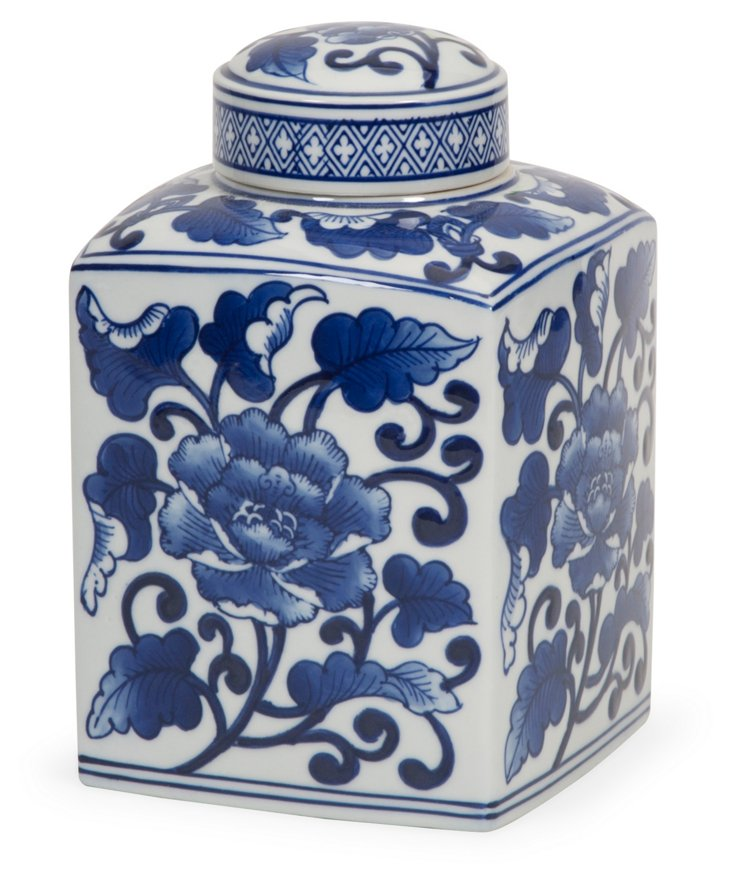 "8"" Tollmache Lidded Jar, Blue/White"