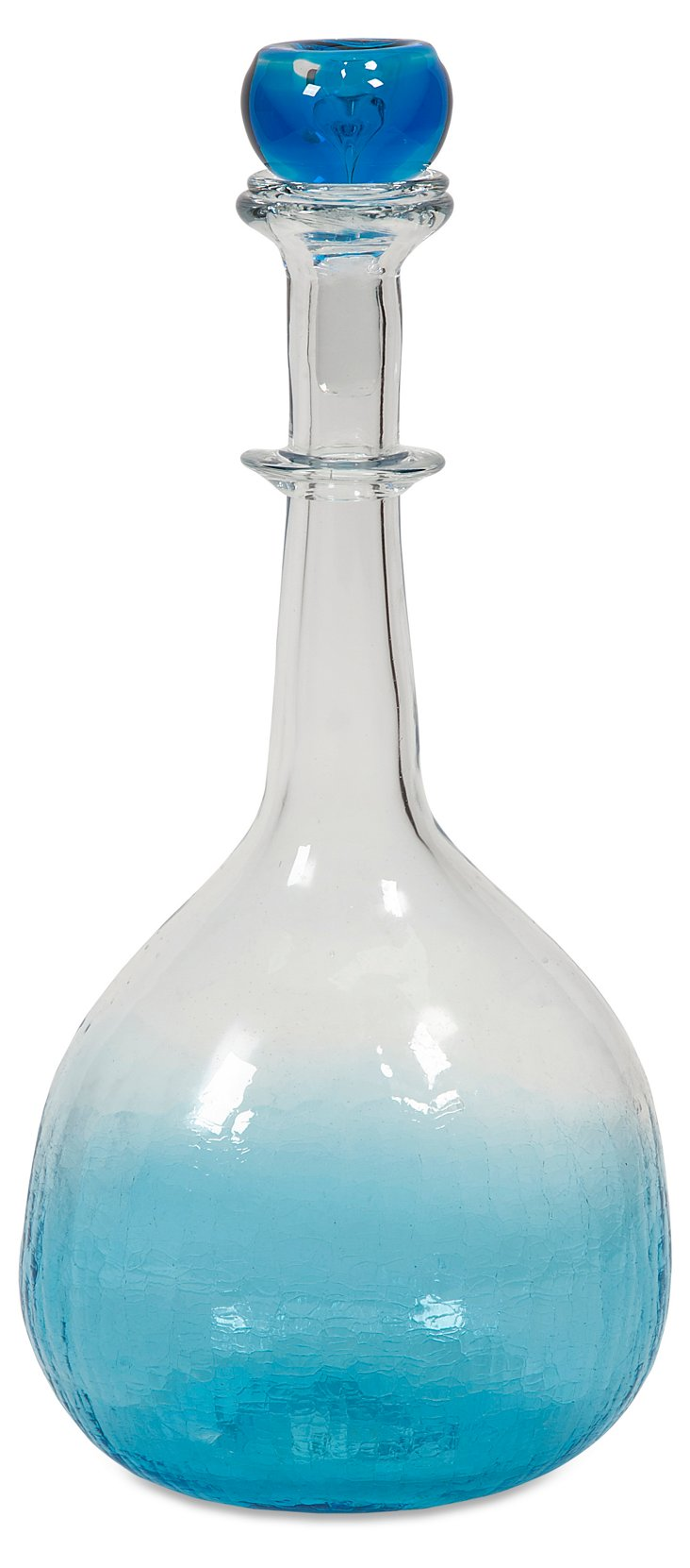 """18"""" Agio Glass Bottle w/ Stopper, Blue"""