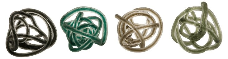 Asst. of 4 Glass Rope Knots, Multi