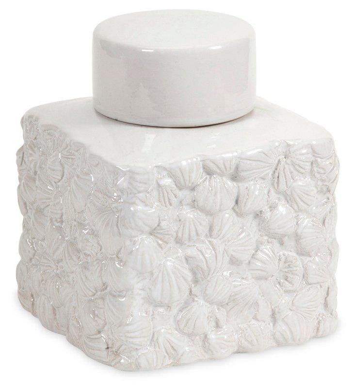 "9"" Walton Seashell Jar, White"