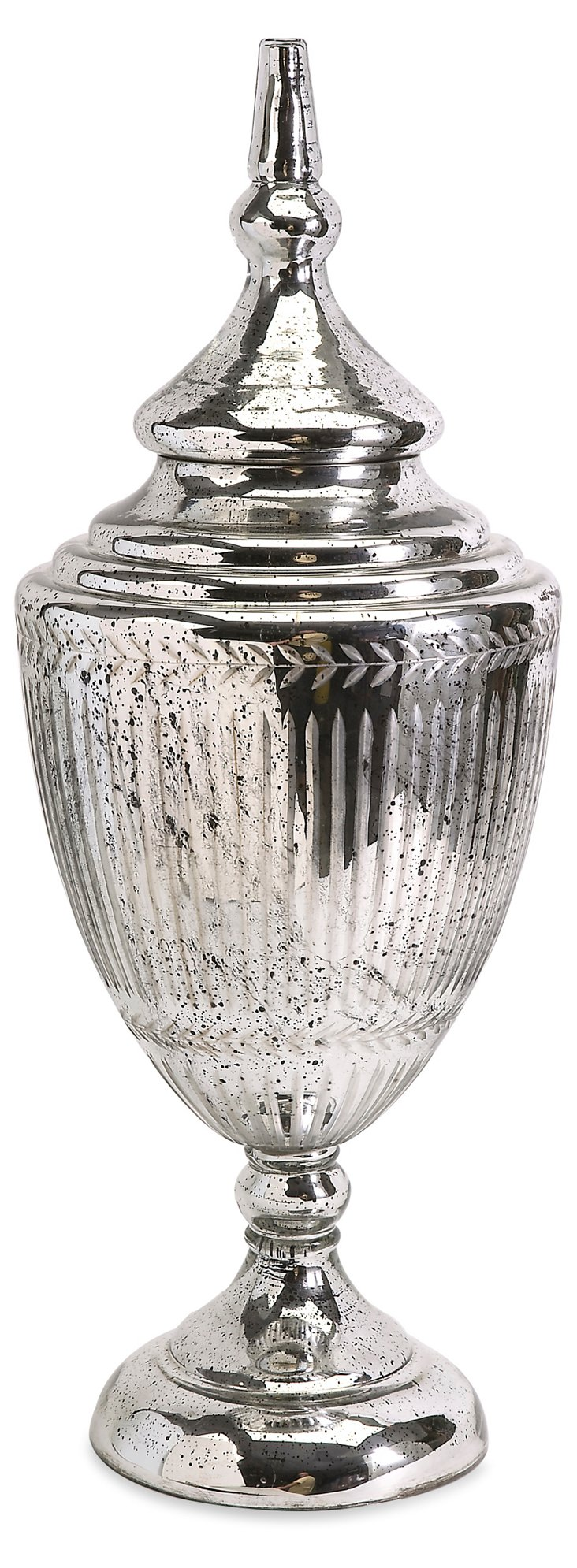 "29"" Silvered-Glass Urn, Silver"