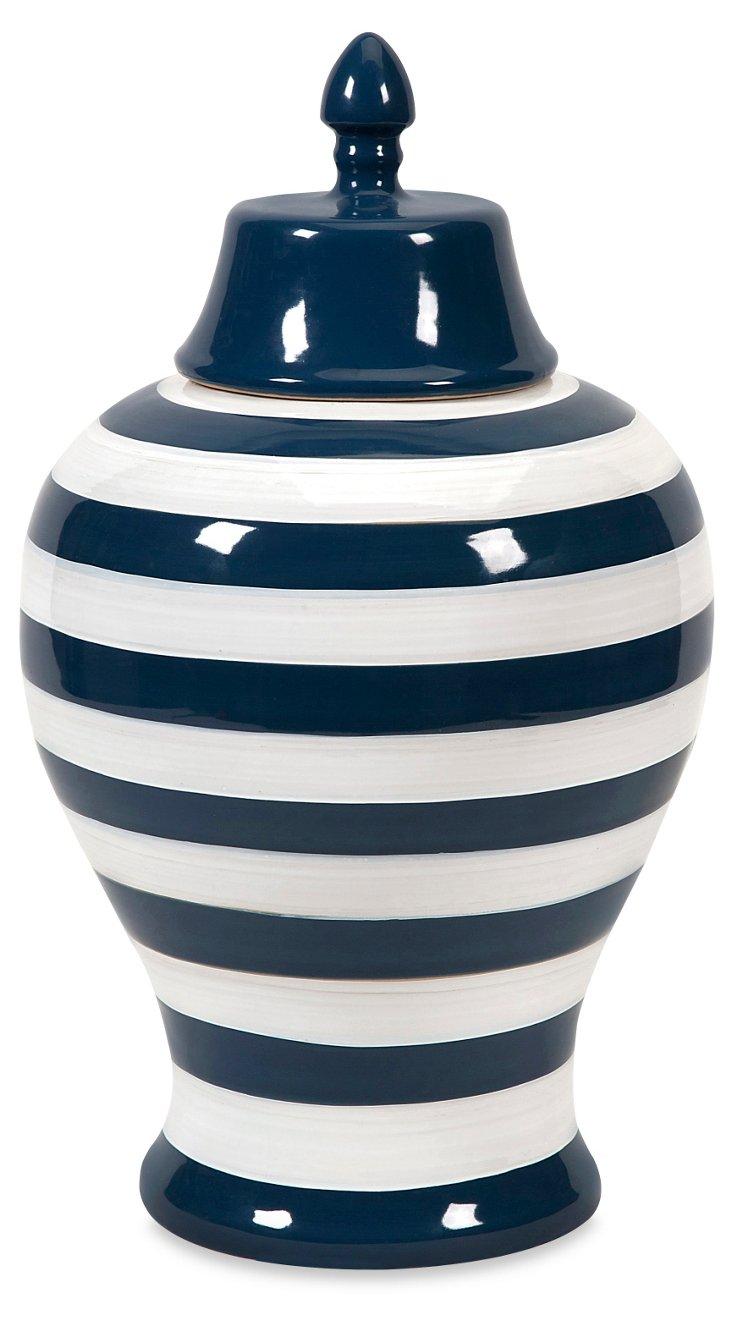 "18"" Hudson Striped Urn, Navy/White"