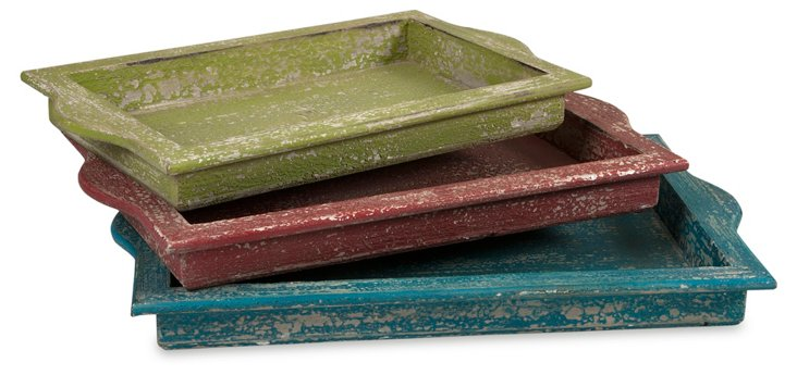 Asst. of 3 Weathered Wood Trays