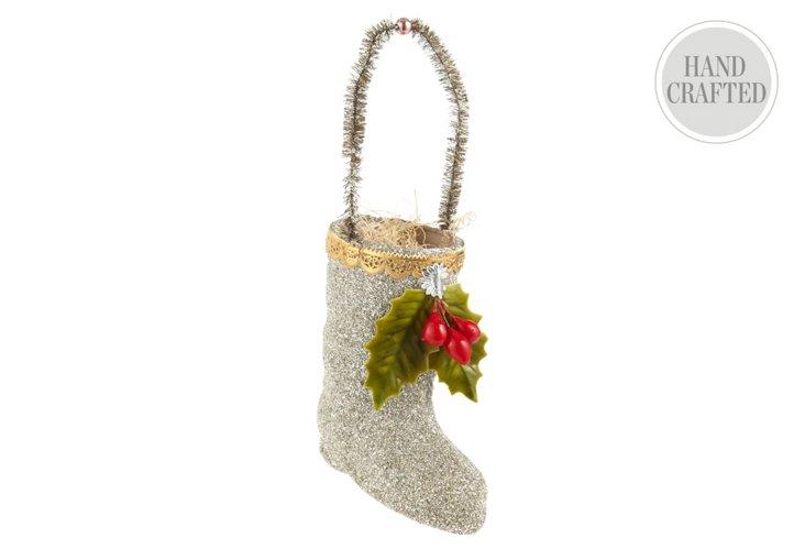 Glitter Santa Boot Ornament