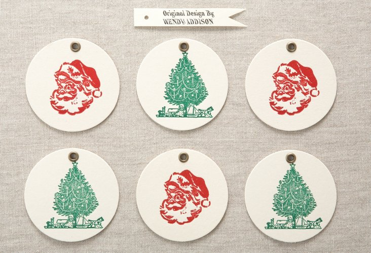 Holiday Letterpress Ornaments, S/6