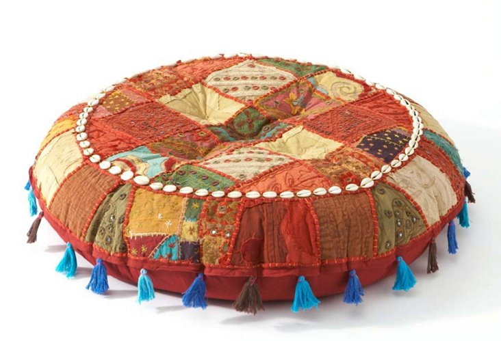 Patchwork Floor Cushion  Red/Blue