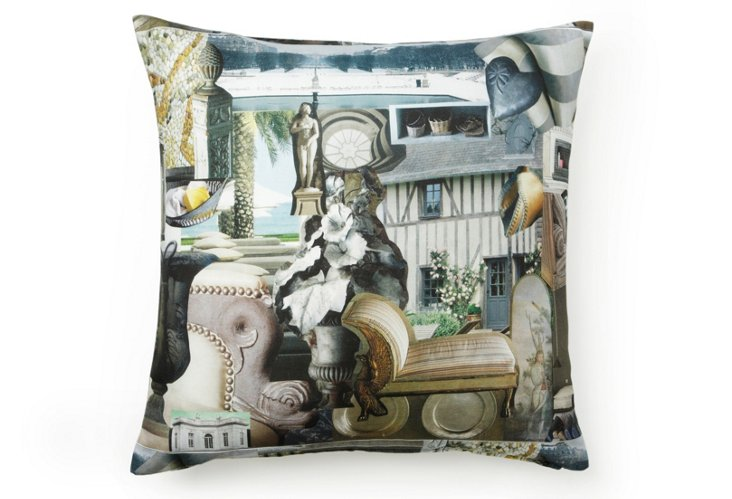 Charlotte Moss Collage Pillow - Gray