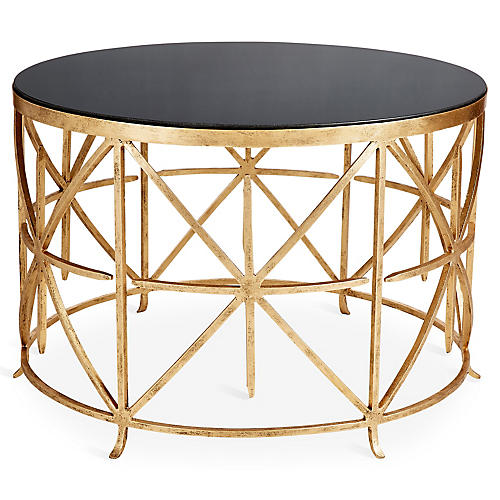 Narrow Rectangular Brass And Marble Coffee Table By Edward: One Kings Lane