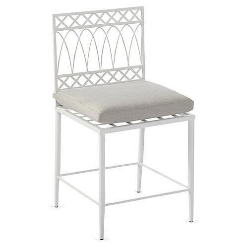 Linden Side Chair, White/Gray Sunbrella