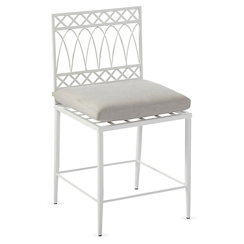 Linden Side Chair, White/Gray Sunbrella