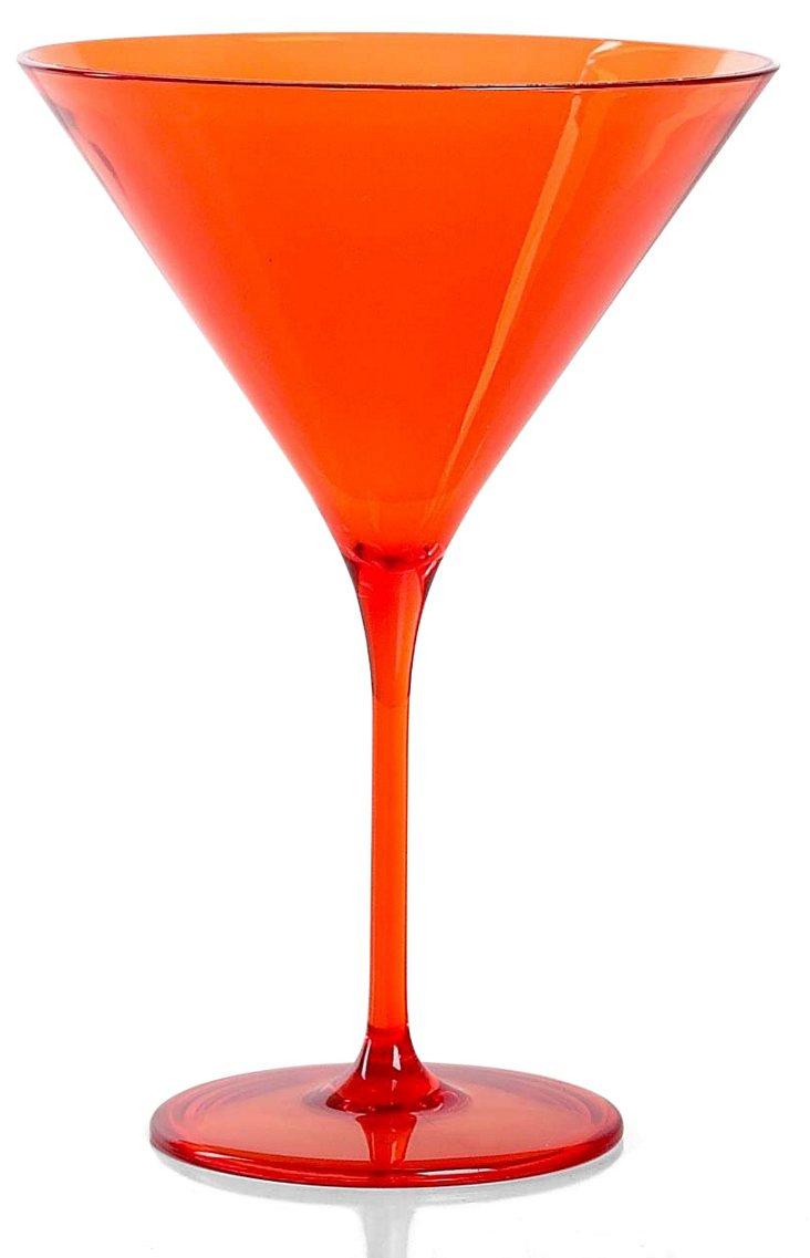 S/6 Capri Martini Glasses, Orange