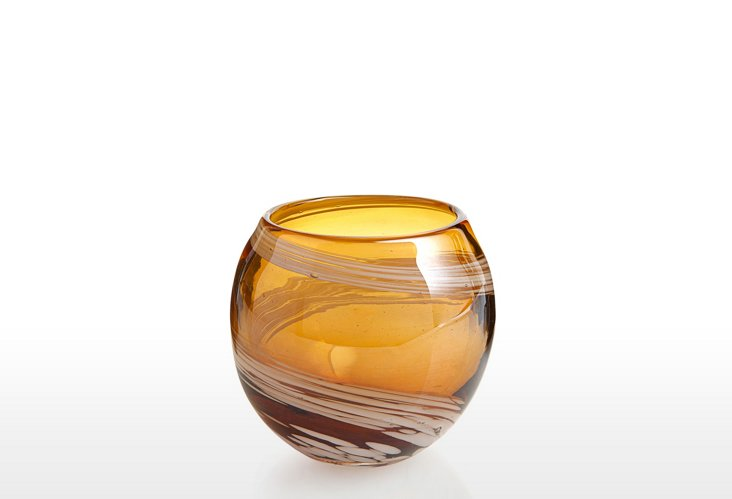 S/3 Pearl Votives, Amber