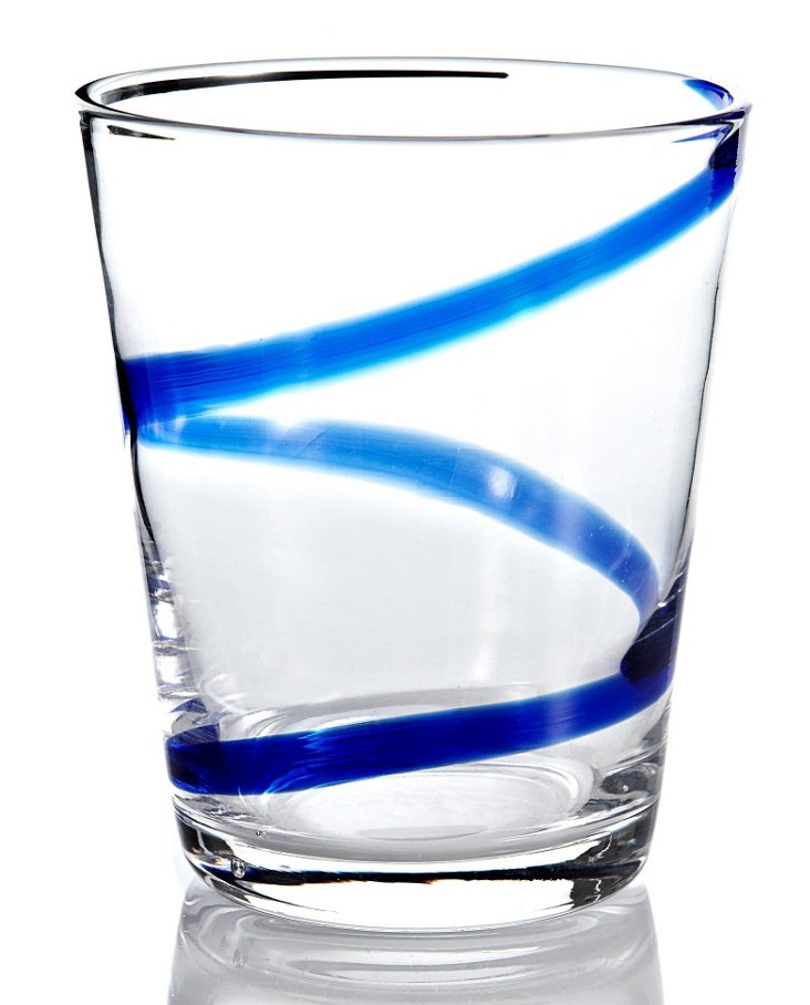 S/6 Crazy Rocks Glasses, Blue