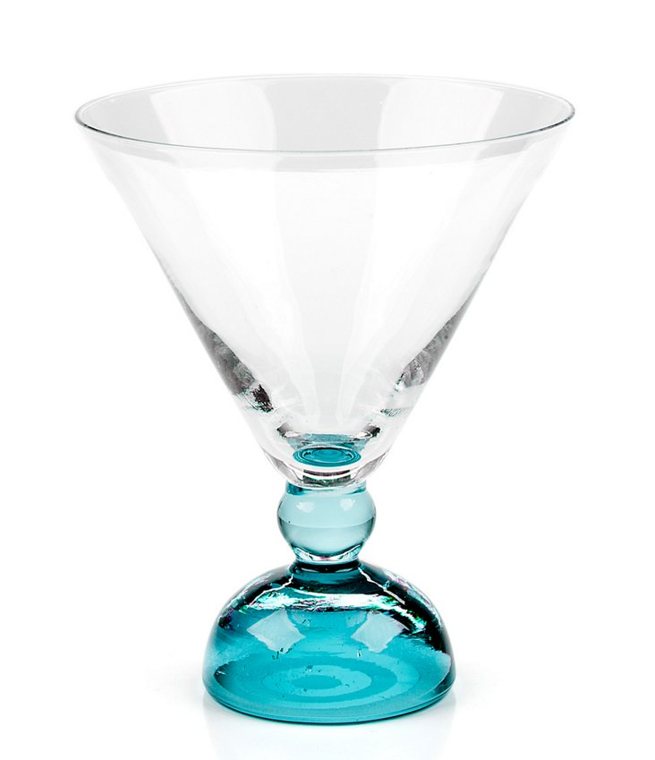 S/4 Biarritz Martini Glasses, Aqua