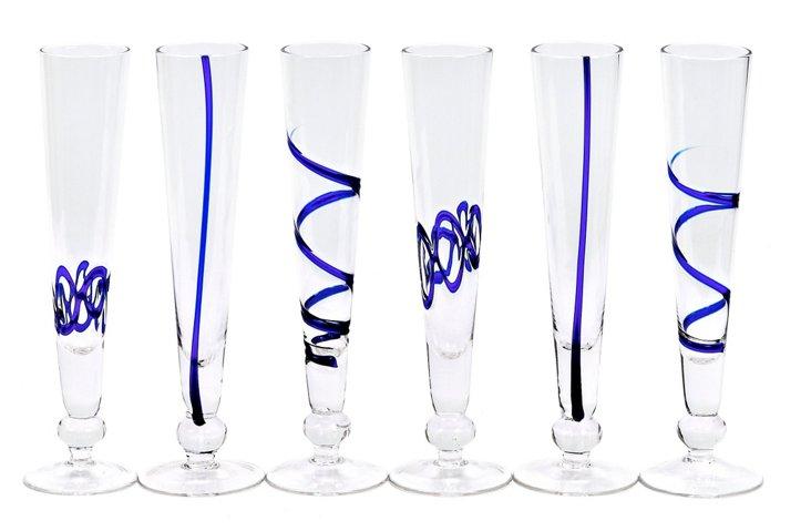 S/6 Assorted Crazy Flutes, Blue
