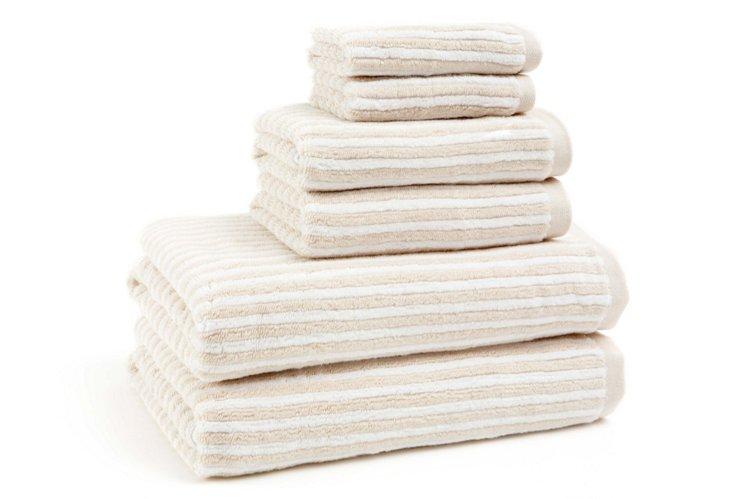 6-Pc Striped Towel Set, White/Beige