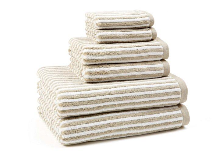 6-Pc Striped Towel Set, White/Taupe